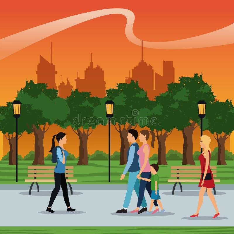 Άνθρωποι που περπατούν το αστικό ηλιοβασίλεμα δέντρων λαμπτήρων πάρκων πόλεων brench postlight ελεύθερη απεικόνιση δικαιώματος