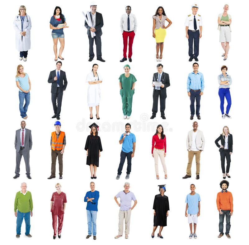 Άνθρωποι που στέκονται σε έναν υπόλοιπο κόσμο που απομονώνεται στο λευκό στοκ φωτογραφίες με δικαίωμα ελεύθερης χρήσης