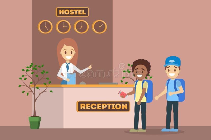 Άνθρωποι που στέκονται στη σειρά αναμονής στην υποδοχή ξενώνων διανυσματική απεικόνιση