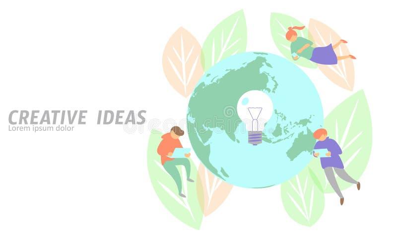 Άνθρωποι που συναντούν τη δημιουργική ιδέα επιχειρησιακής έννοιας Ο πετώντας πλανήτης Γη ατόμων σώζει το λαμπτήρα λαμπών φωτός τα απεικόνιση αποθεμάτων