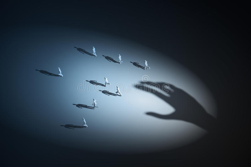 Άνθρωποι που τρέχουν μακρυά από ένα αόρατο χέρι διανυσματική απεικόνιση