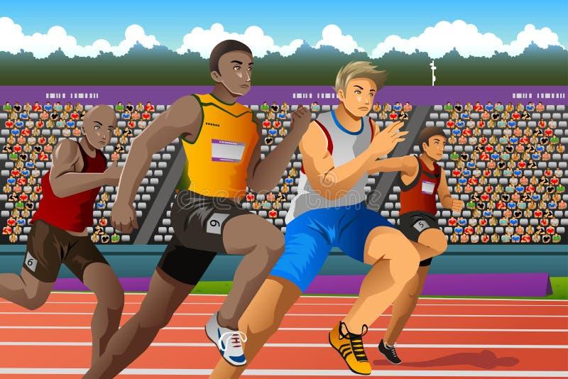 Άνθρωποι που τρέχουν σε ανταγωνισμό απεικόνιση αποθεμάτων