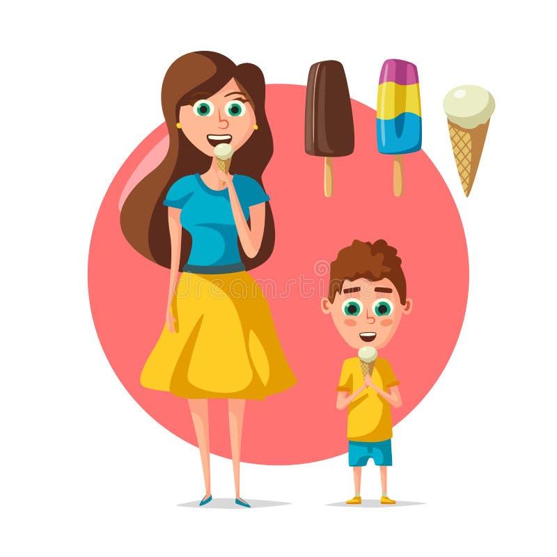 Άνθρωποι που τρώνε τη διανυσματικό το επίπεδο γυναίκα ή παιδί παγωτού διανυσματική απεικόνιση