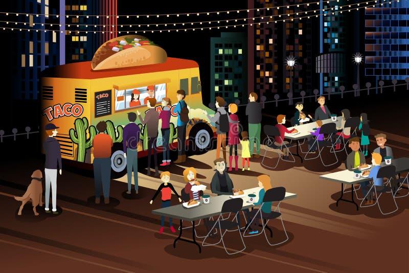 Άνθρωποι που τρώνε Taco στο φορτηγό Taco τη νύχτα διανυσματική απεικόνιση
