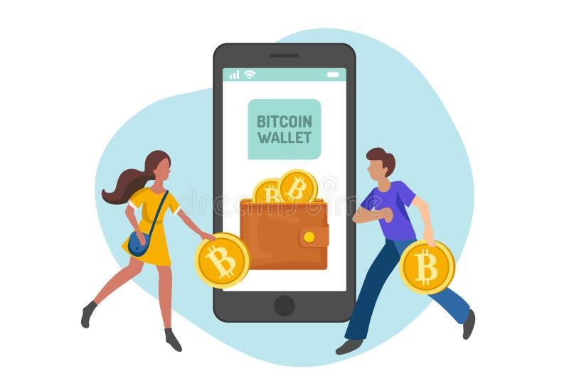 Άνθρωποι που φέρνουν bitcoins στο πορτοφόλι, επίπεδος μινιμαλιστικός προσδιορισμός Διανυσματική απεικόνιση της ροής κεφαλαίου, χρ διανυσματική απεικόνιση