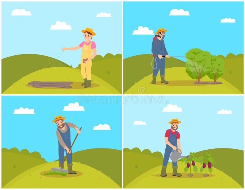 Άνθρωποι που φυτεύουν καλλιεργώντας τη διανυσματική απεικόνιση διανυσματική απεικόνιση