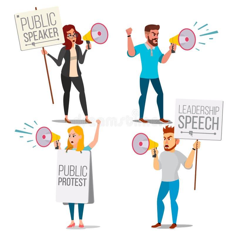 Άνθρωποι που φωνάζουν μέσω του δυνατού διανύσματος ομιλητών Ομιλία ηγεσίας Άνθρωποι στην απεργία Έννοια επίδειξης Απομονωμένο επί απεικόνιση αποθεμάτων