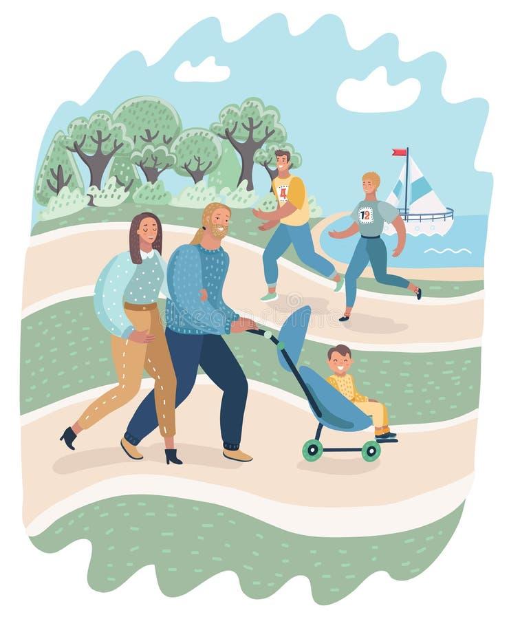 Άνθρωποι που χαλαρώνουν στη φύση στο πάρκο ελεύθερη απεικόνιση δικαιώματος