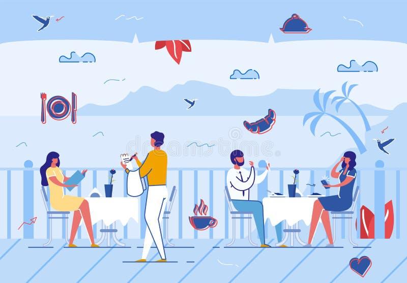Άνθρωποι που χαλαρώνουν στο θερινό καφέ υπαίθρια, διακοπές ελεύθερη απεικόνιση δικαιώματος