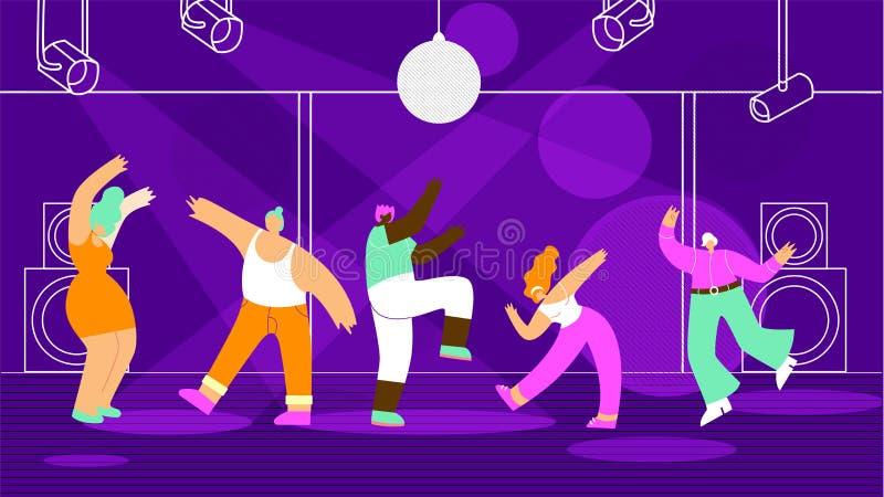Άνθρωποι που χορεύουν στην επίπεδη διανυσματική έννοια λεσχών νύχτας διανυσματική απεικόνιση