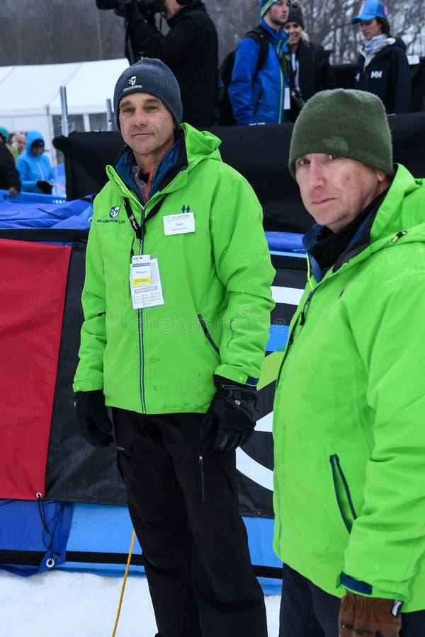 Άνθρωποι προσωπικού Killington, Tom Horrocks - προϊστάμενος του Τύπου Λ κατά τη διάρκεια του γιγαντιαίου Slalom των αλπικών σκι A στοκ εικόνες με δικαίωμα ελεύθερης χρήσης