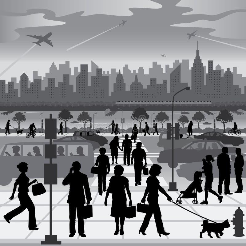 Άνθρωποι πόλεων σε κίνηση διανυσματική απεικόνιση