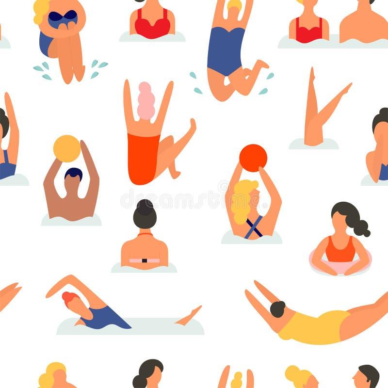 Άνθρωποι σε μια παραλία άνευ ραφής διάνυσμα προτύπ&omeg διανυσματική απεικόνιση