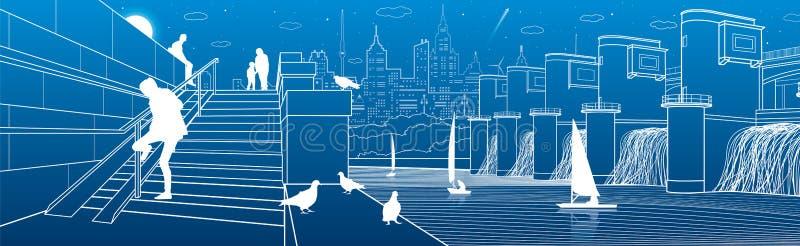 Άνθρωποι στα βήματα Ανάχωμα ποταμών, σταθμός υδροηλεκτρικής ενέργειας και γιοτ στο νερό Πόλη snene Διανυσματική τέχνη σχεδίου διανυσματική απεικόνιση
