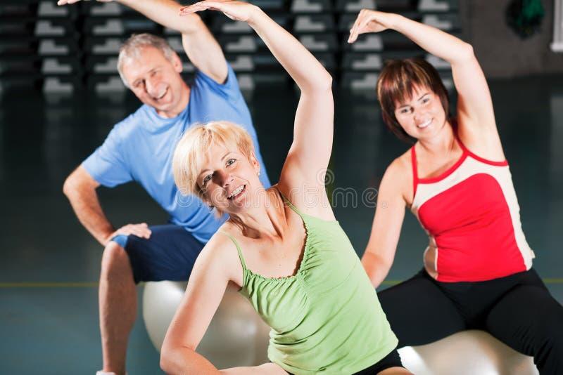 Άνθρωποι στη γυμναστική στη σφαίρα άσκησης στοκ εικόνες