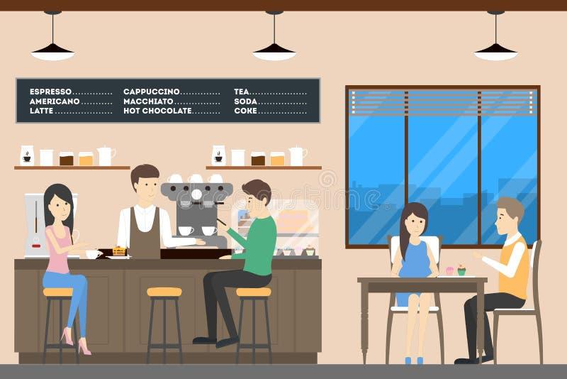 Άνθρωποι στη καφετερία απεικόνιση αποθεμάτων