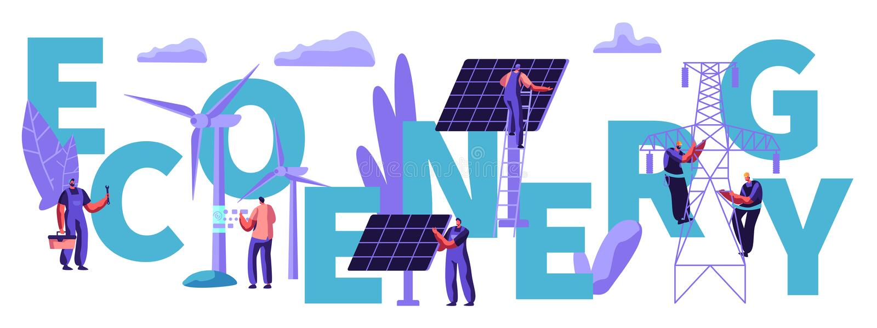 Άνθρωποι στους στροβίλους ανεμόμυλων, ηλιακά πλαίσια Βιώσιμη παροχή ηλεκτρικού ρεύματος Πράσινη έννοια καθαρής ενέργειας Eco εναλ απεικόνιση αποθεμάτων