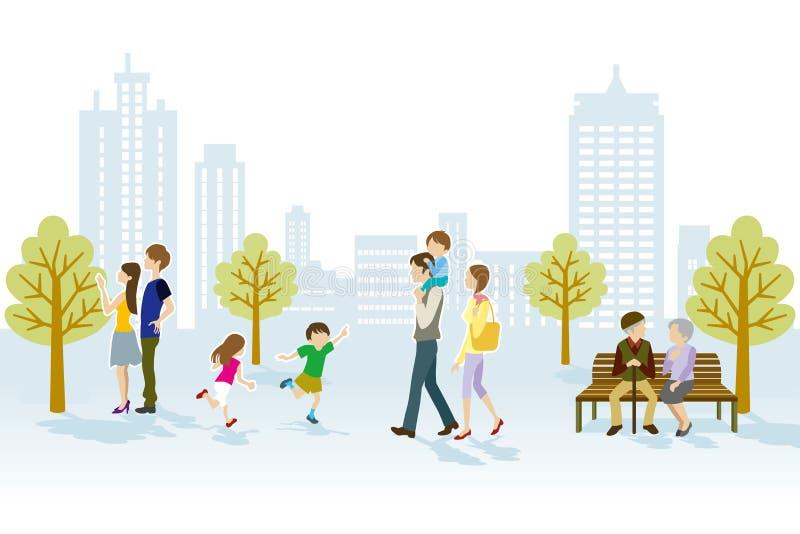 Άνθρωποι στο αστικό πάρκο διανυσματική απεικόνιση