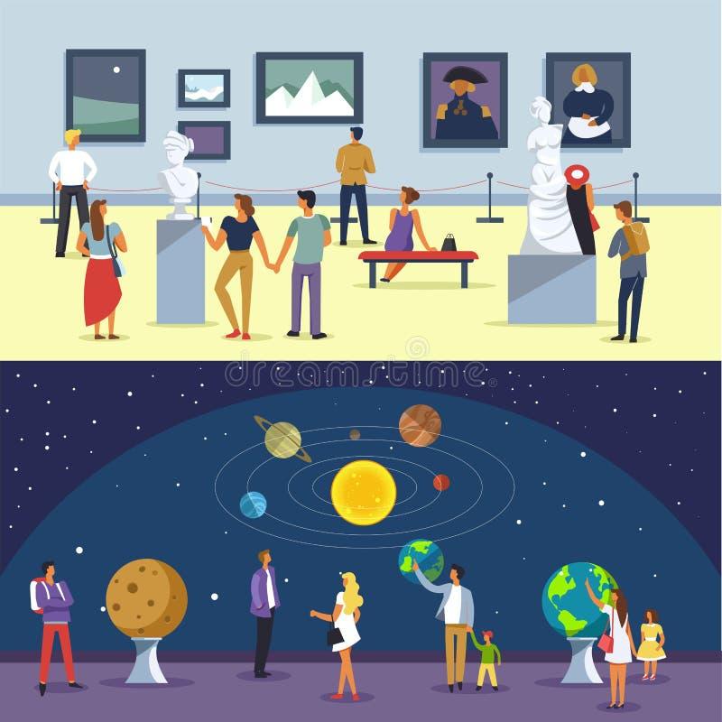 Άνθρωποι στο διανυσματικές διάστημα μουσείων και την έκθεση τέχνης διανυσματική απεικόνιση