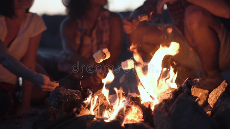 Άνθρωποι συγκομιδών που ψήνουν marshmallows στην πυρκαγιά στη σχάρα στοκ φωτογραφίες