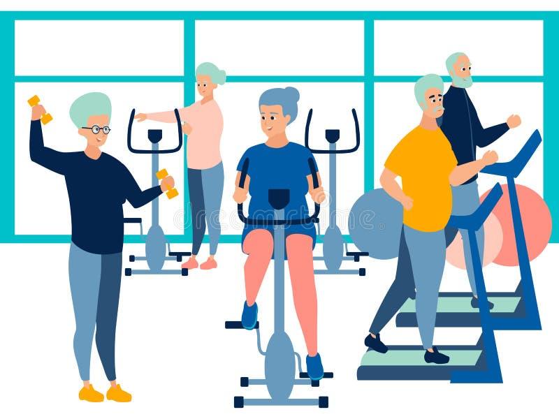 Άνθρωποι, συνταξιούχος στη γυμναστική κατάρτιση στους προσομοιωτές Στο μινιμαλιστικό επίπεδο διάνυσμα κινούμενων σχεδίων ύφους διανυσματική απεικόνιση