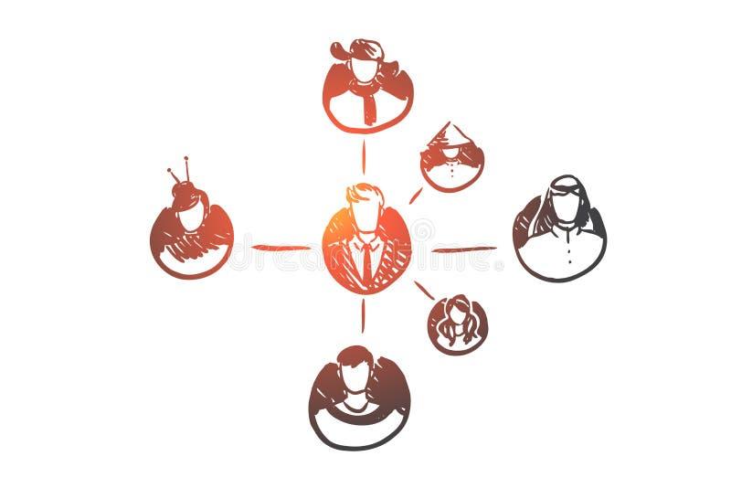 Άνθρωποι, σύνδεση, δίκτυο, σφαιρική, κοινοτική έννοια Συρμένο χέρι απομονωμένο διάνυσμα απεικόνιση αποθεμάτων