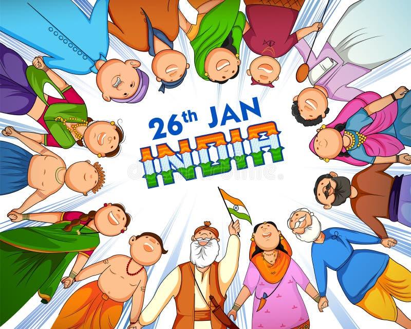 Άνθρωποι της διαφορετικής θρησκείας που παρουσιάζουν ενότητα στην ποικιλομορφία την ευτυχή ημέρα Δημοκρατίας της Ινδίας διανυσματική απεικόνιση