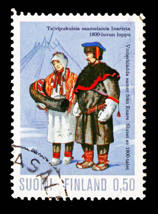 Άνθρωποι της Sami στο 19ο αιώνα χειμερινών κοστουμιών, εθνικά κοστούμια serie, circa 1972 στοκ εικόνα