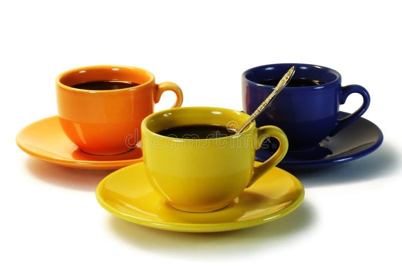άνθρωποι τρία καφέ στοκ εικόνες