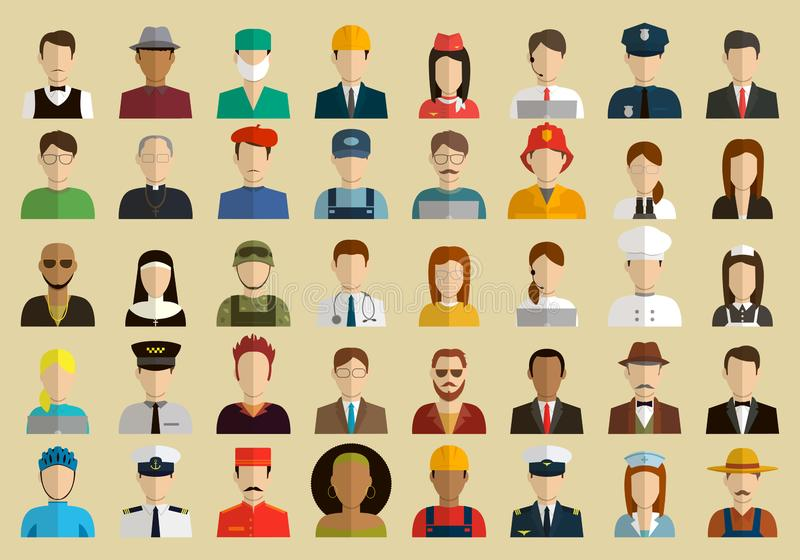 Άνθρωποι των διαφορετικών επαγγελμάτων Εικονίδια επαγγελμάτων που τίθενται Επίπεδο σχέδιο διάνυσμα ελεύθερη απεικόνιση δικαιώματος