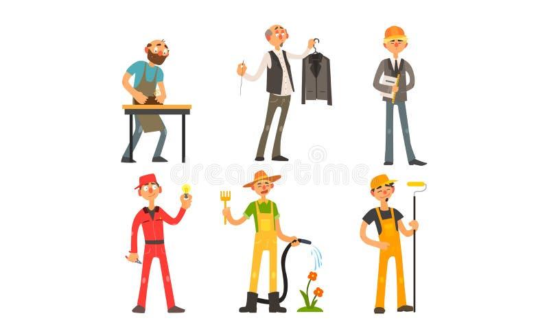 Άνθρωποι των διαφορετικών επαγγελμάτων, ξυλουργός, ράφτης, αρχιτέκτονας, επιστάτης, ηλεκτρολόγος, κηπουρός, διάνυσμα ζωγράφων διανυσματική απεικόνιση