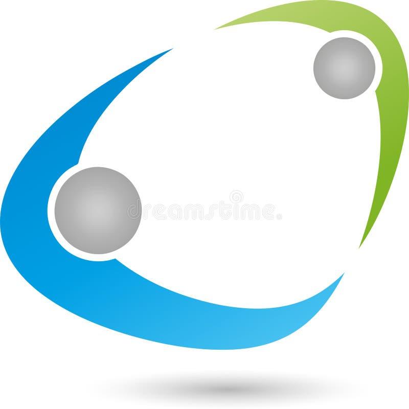 Άνθρωποι, δύο άνθρωποι, συνεργασία, λογότυπο διανυσματική απεικόνιση