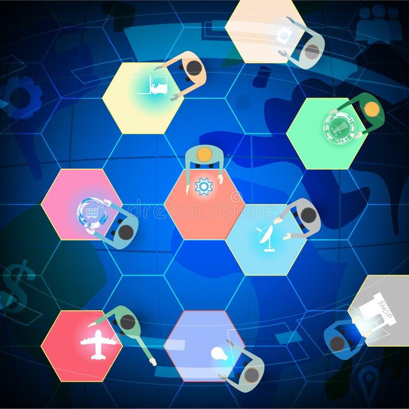 Άνθρωπος εικονιδίων στην ομαδική εργασία, το δίκτυο, τη συνεργασία και την τεχνολογία έννοιας διανυσματική απεικόνιση