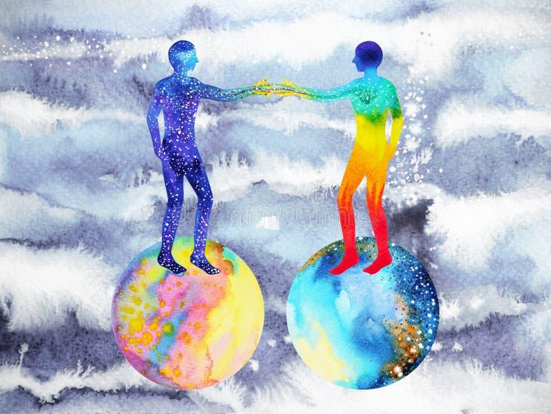 Άνθρωπος και δύναμη κόσμου, ζωγραφική watercolor, reiki chakra, παγκόσμιος κόσμος εγκεφάλου μέσα στο μυαλό σας ελεύθερη απεικόνιση δικαιώματος