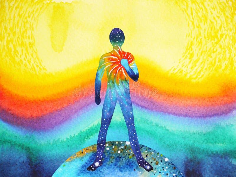 Άνθρωπος και δύναμη κόσμου, ζωγραφική watercolor, reiki chakra, παγκόσμιος κόσμος μέσα στο μυαλό σας ελεύθερη απεικόνιση δικαιώματος