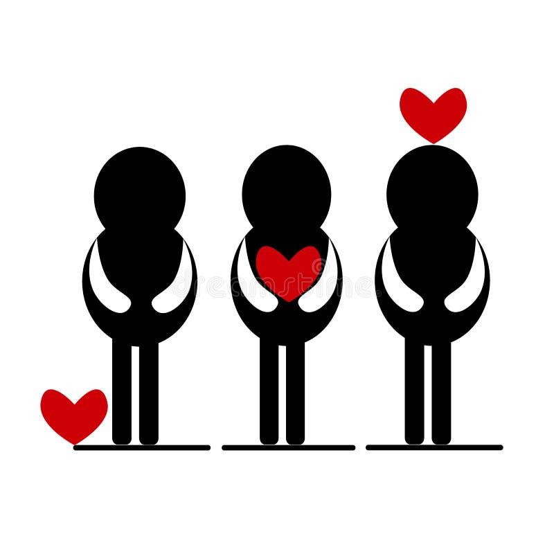 Άνθρωπος με την κόκκινη καρδιά, έννοια αγάπης ελεύθερη απεικόνιση δικαιώματος