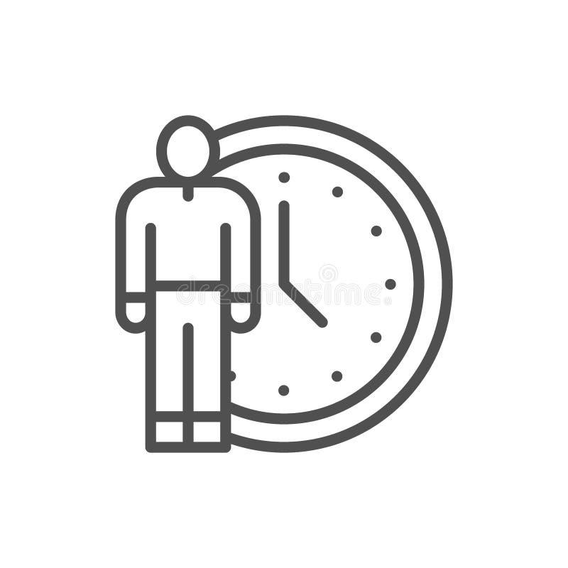 Άνθρωπος με το ρολόι, εικονίδιο γραμμών χρονικής διαχείρισης διανυσματική απεικόνιση
