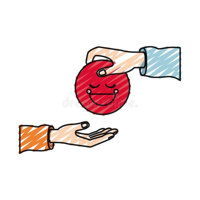 Άνθρωπος παλαμών σκιαγραφιών κραγιονιών χρώματος που κρατά ένα κόκκινο ευτυχές σύμβολο προσώπου που καταθέτει σε άλλο χέρι ελεύθερη απεικόνιση δικαιώματος