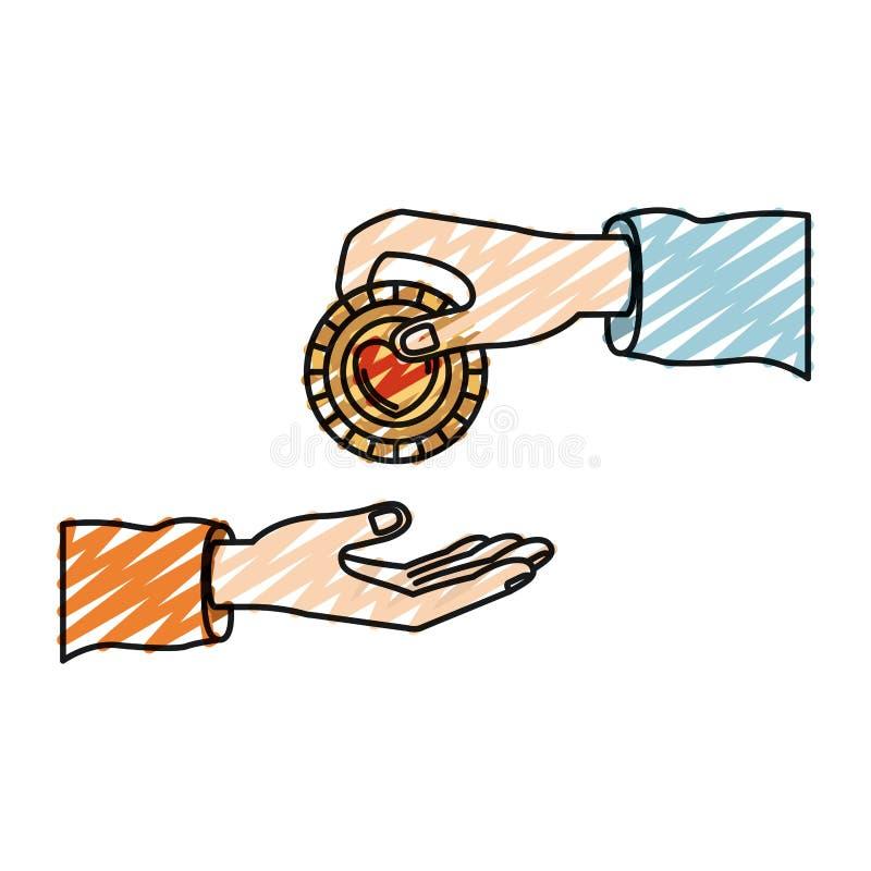 Άνθρωπος παλαμών σκιαγραφιών κραγιονιών χρώματος που κρατά ένα νόμισμα με τη μορφή καρδιών μέσα στην κατάθεση σε άλλο χέρι ελεύθερη απεικόνιση δικαιώματος