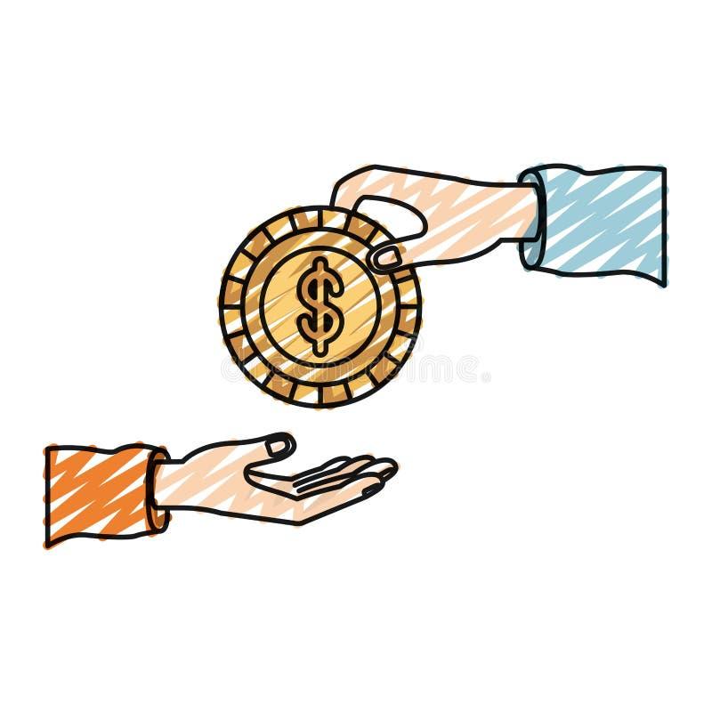 Άνθρωπος παλαμών σκιαγραφιών κραγιονιών χρώματος που κρατά ένα νόμισμα με το σύμβολο δολαρίων μέσα στην κατάθεση σε άλλο χέρι διανυσματική απεικόνιση