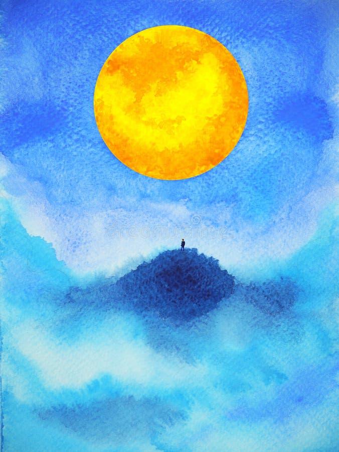Άνθρωπος στο αφηρημένο πνευματικό σχέδιο απεικόνισης ζωγραφικής watercolor πανσελήνων δύναμης μυαλού τοπ βουνών στοκ εικόνα με δικαίωμα ελεύθερης χρήσης