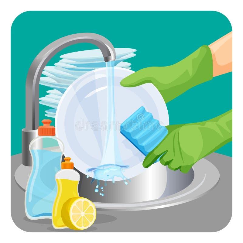 Άνθρωπος στο λαστιχένιο προστατευτικό πιάτο πλυσίματος των πιάτων γαντιών με ένα σφουγγάρι ελεύθερη απεικόνιση δικαιώματος