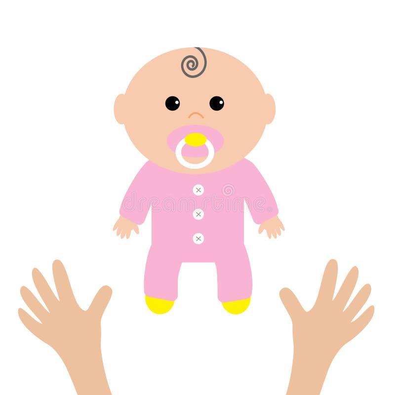 άνθρωπος δύο χεριών το παιδί προσοχής δίνει τη συνεδρίαση μητέρων bunny ανασκόπησης μωρών χαριτωμένο floral κείμενο ντους καρτών  διανυσματική απεικόνιση