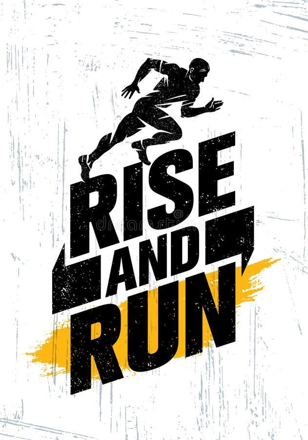 Άνοδος και τρέξιμο Έννοια αφισών αποσπάσματος κινήτρου αθλητικής εκδήλωσης μαραθωνίου Ενεργός απεικόνιση τυπογραφίας τρόπου ζωής ελεύθερη απεικόνιση δικαιώματος