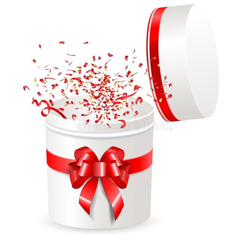 Άνοιγμα πλαισίου δώρων στρογγυλού σχήματος με κόκκινη κορδέλα και τόξο Ταινία Streamer ribbons Confetti έκπληξη πετάει έξω από το διανυσματική απεικόνιση