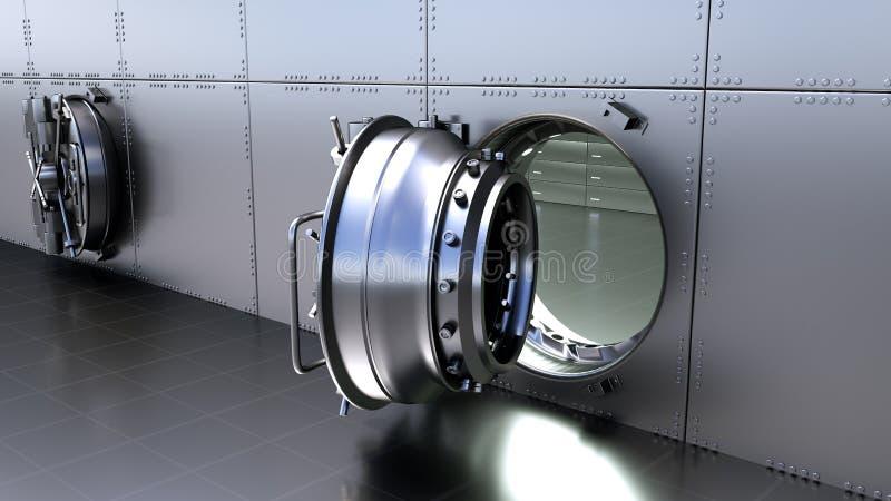 Άνοιγμα της ασφαλούς πόρτας του υπόγειου θαλάμου τράπεζας τρισδιάστατη απόδοση ελεύθερη απεικόνιση δικαιώματος