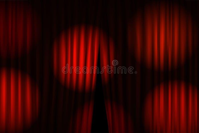 Άνοιγμα των σκηνικών κουρτινών με τους φωτεινούς προβολείς ελεύθερη απεικόνιση δικαιώματος