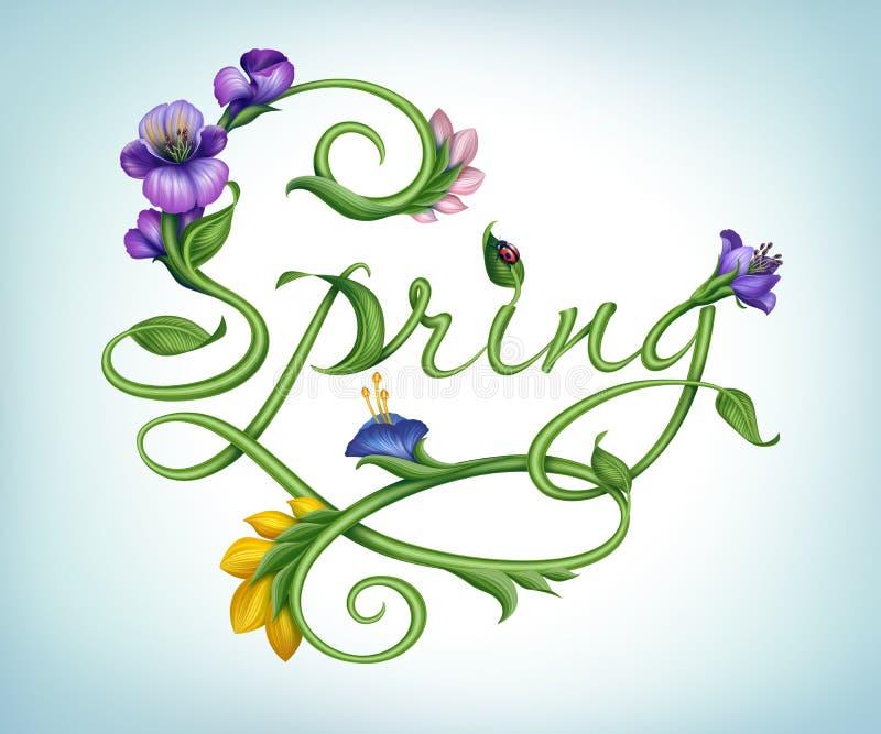 Φυσικό πράσινο καλλιγραφικό ελατήριο λέξης με τα λουλούδια ελεύθερη απεικόνιση δικαιώματος