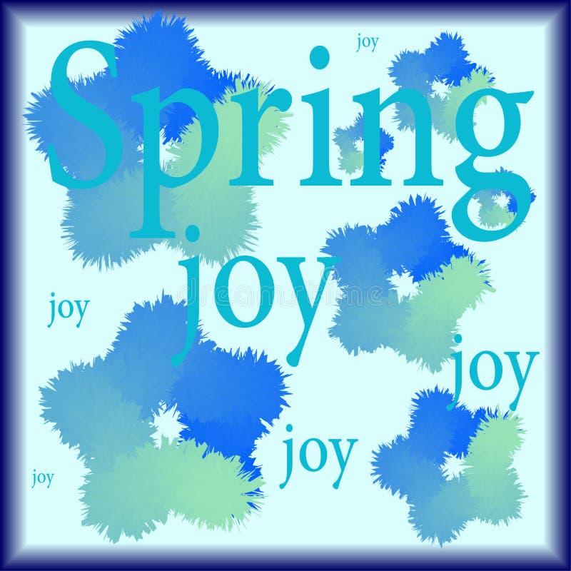Άνοιξη και χαρά λέξεων που γράφονται σε ένα υπόβαθρο των τριχωτών λουλουδιών κρύα χρώματα ελεύθερη απεικόνιση δικαιώματος