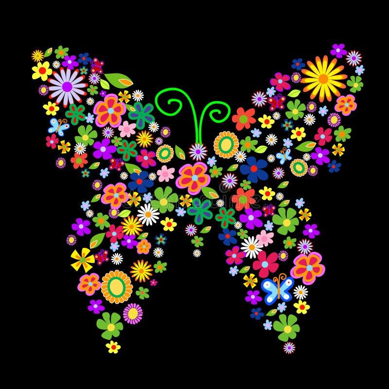 άνοιξη λουλουδιών πεταλούδων ελεύθερη απεικόνιση δικαιώματος